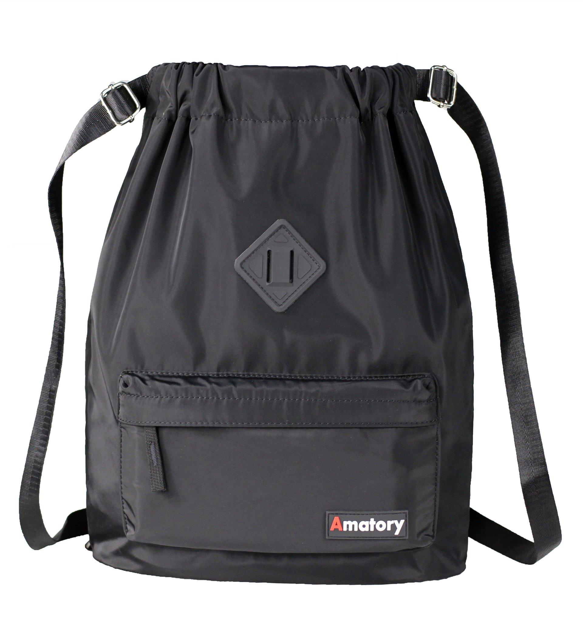Drawstring Backpack String Bag Sports Waterproof Sackpack Gymsack Gym Cinch Sack (Black)