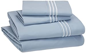 AmazonBasics Embroidered Hotel Stitch Sheet Set - Premium, Soft, Easy-Wash Microfiber - King, Dusty Blue