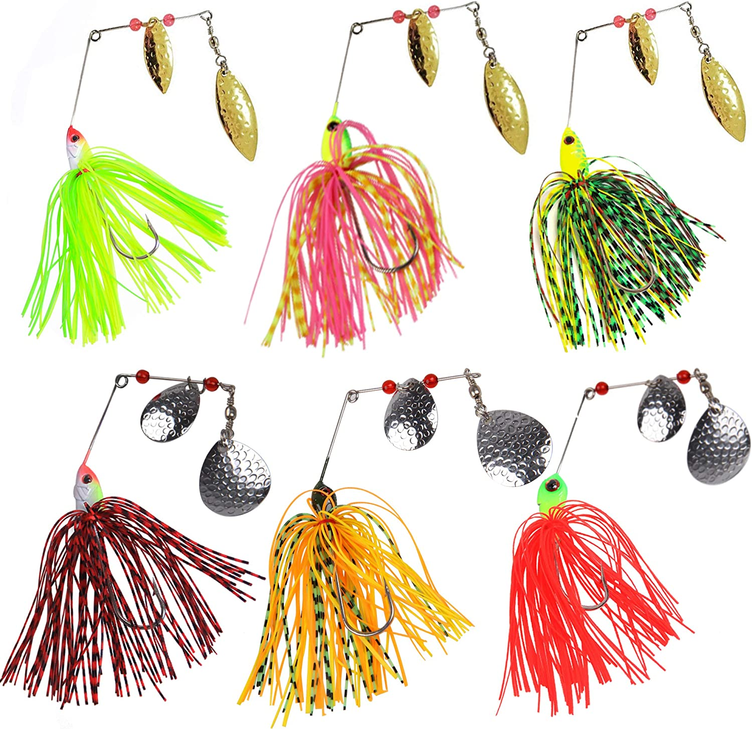 6pcs//12pcs Spinner Baits Rubber Jig Bass Fishing Lures Spoons Buzzbaits Tackles