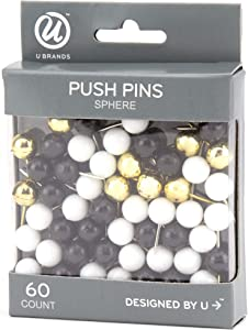 U Brands Sphere Push Pins, Black, White and Gold, 60-Count (2119U06-24)