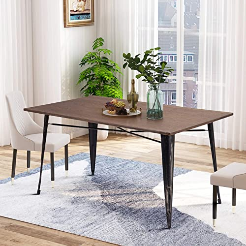P PURLOVE Dining Table Rectangular Rustic Style Living Room Table
