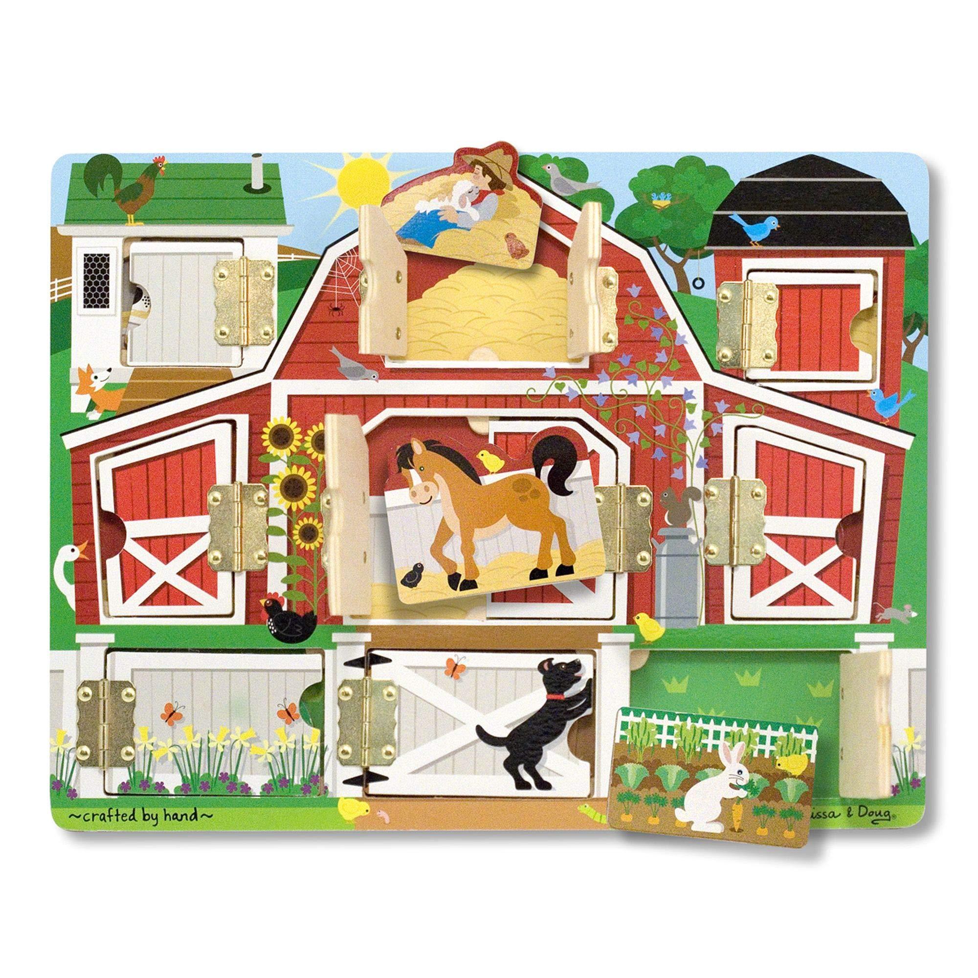 "Melissa & Doug Hide & Seek Farm (Developmental Toys, Magnetic Puzzle Board, Sturdy Wooden Construction, 9 Pieces, 12"" H x 9.4"" W x 0.9"" L)"