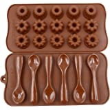 Qpower 2 Pcs Silicone Chocolate Decorating Baking Mould Spoon Flowers Shape Cake Mold Fondant Pastry Moulds