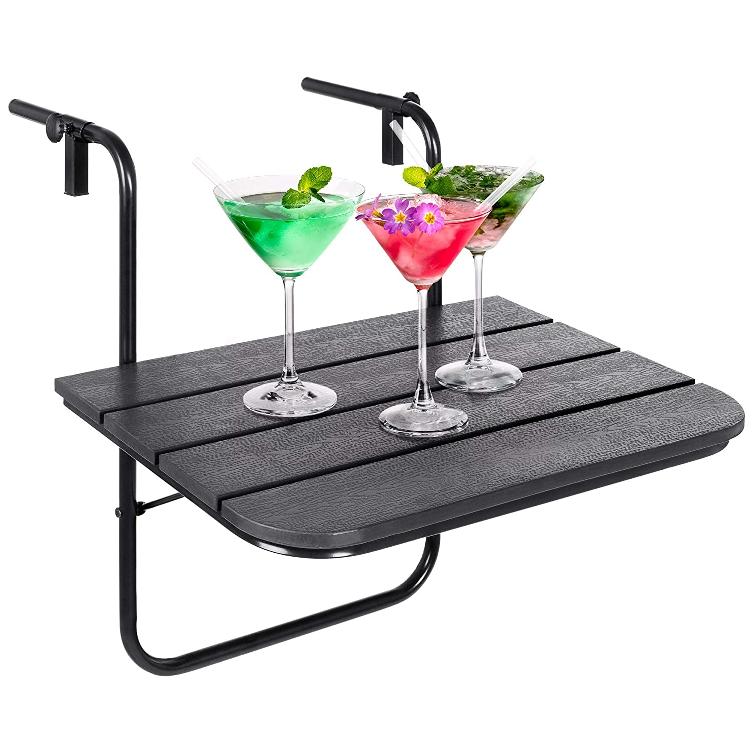 Best Choice Products Portable Folding Hanging Compact Balcony Railing Table Serving Side Stand for Patio, Deck – Black