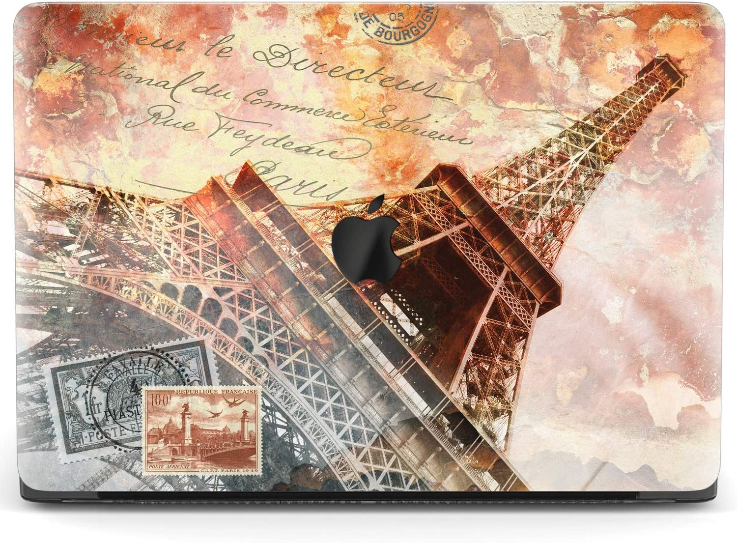 Mertak Hard Case for Apple MacBook Pro 16 Air 13 inch Mac 15 Retina 12 11 2020 2019 2018 2017 Design Eiffel Tower Protective Travelling Laptop Cover Touch Bar Clear Vintage Nostalgic Postal Marks