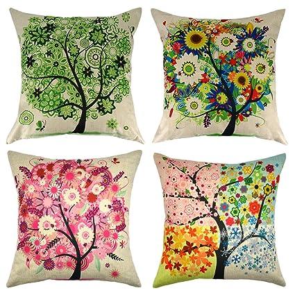 Set of 4 Four Seasons Tree Linen Throw Pillow Case Cushion Cover Outdoor  Sofa Home Pillowcase 16x16 Inch