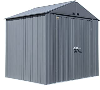 product image for Arrow Shed 8' x 6' Elite Steel Shed with High Gable and Lockable Doors Storage Building, Anthracite