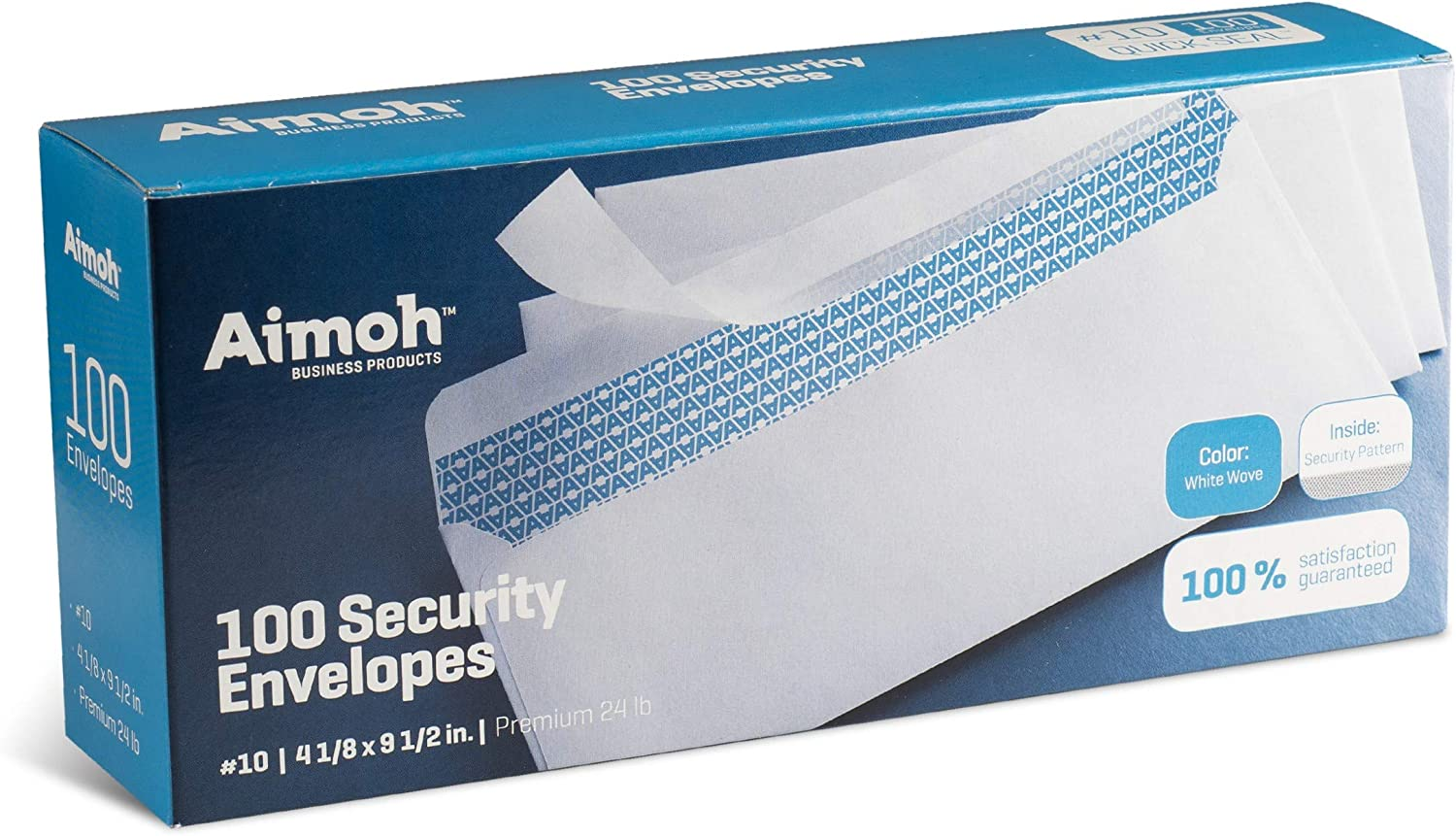 #10 Security Tinted Self-Seal Envelopes - nicht Window - EnveGuard, Size 4-1/8 X 9-1/2 Inches - White - 24 LB - 100 Count (34100)