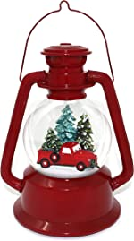 The San Francisco Music Box Company Red Truck Lantern Snow Globe