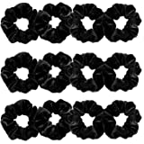 Whaline 12 Pieces Hair Scrunchies Velvet Elastics Scrunchy Bobbles Soft Hair Bands Hair Ties (Black)
