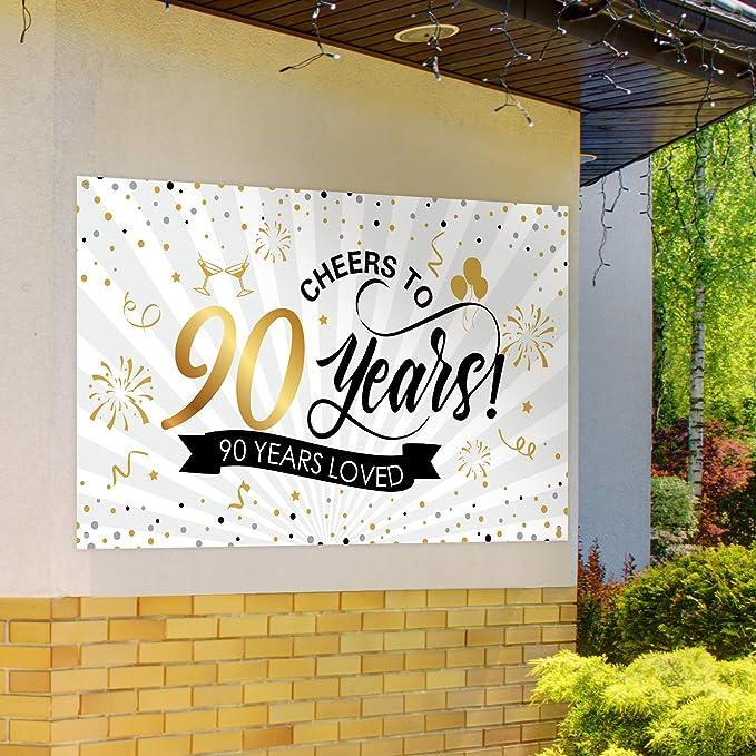 Decorazioni per Feste di Anniversario 60 /°Anniversario Gigante Nero e Oro Sfondo per Feste di Compleanno Banner Anniversario della Cabina Fotografica Segni Festa di Compleanno