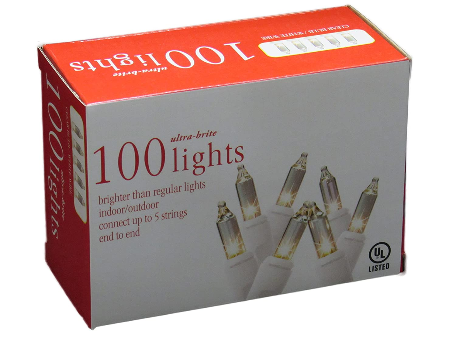 Holiday Essentials 100 Ultra-Brite Clear White Lights with White Wire - Indoor / Outdoor Use