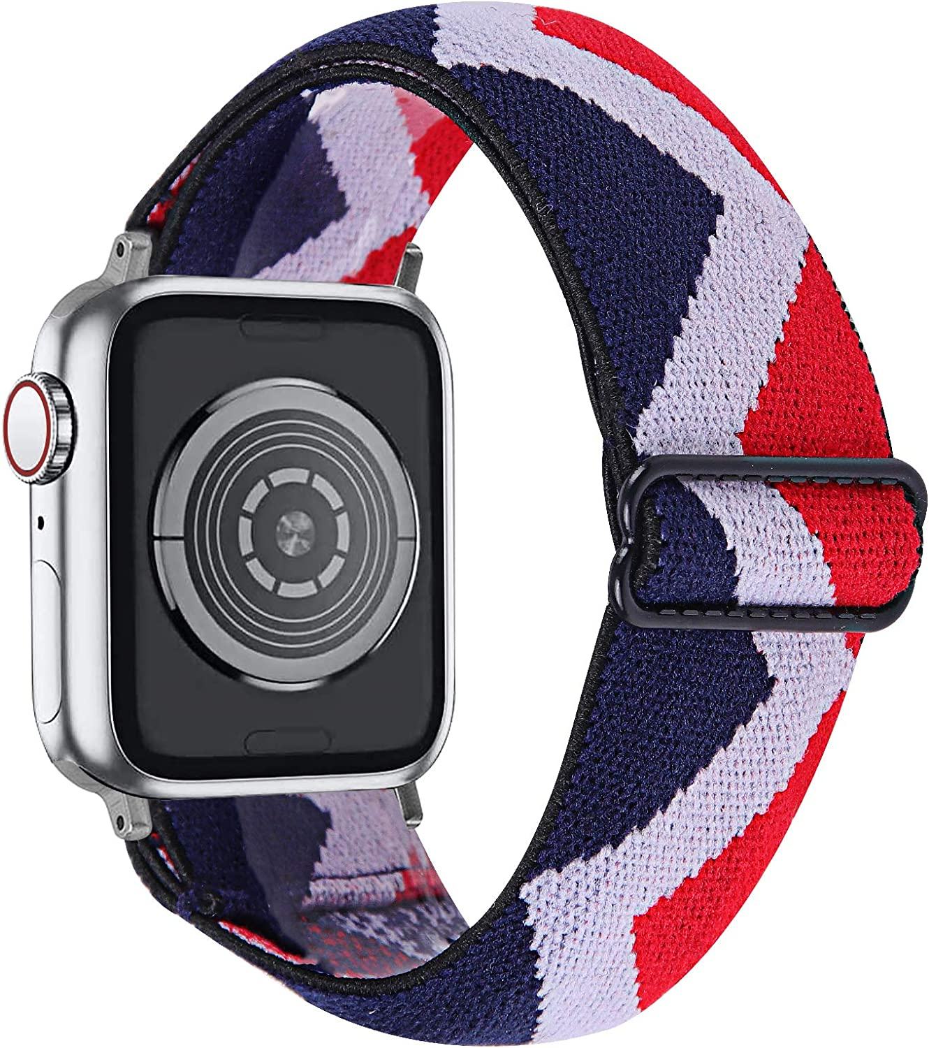 MEFEO Adjustable Elastic Bands Compatible with Apple Watch Bands 38mm 40mm 42mm 44mm, Soft Stretch Bracelet Replacement for iWatch Series 6/5/4/3/2/1&SE Women Girls (Red White Blue, 38mm/40mm)