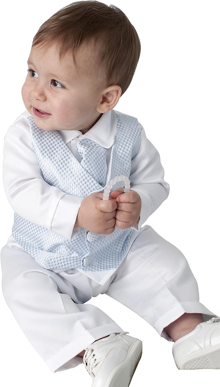 Leo Traje de bautizo de 4piezas en color azul