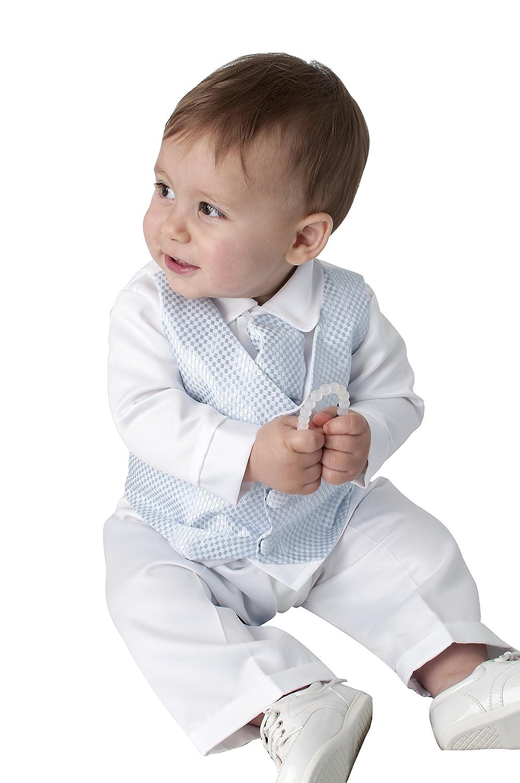 Vivaki 4 Piece Leo Christening Suit In Blue