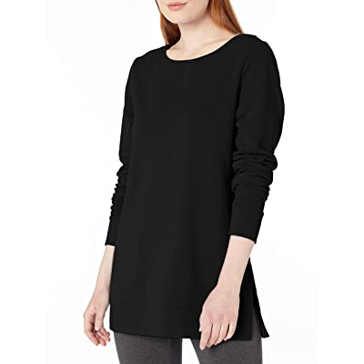 Essentials Women's Open-Neck French Terry Fleece Tunic: Clothing