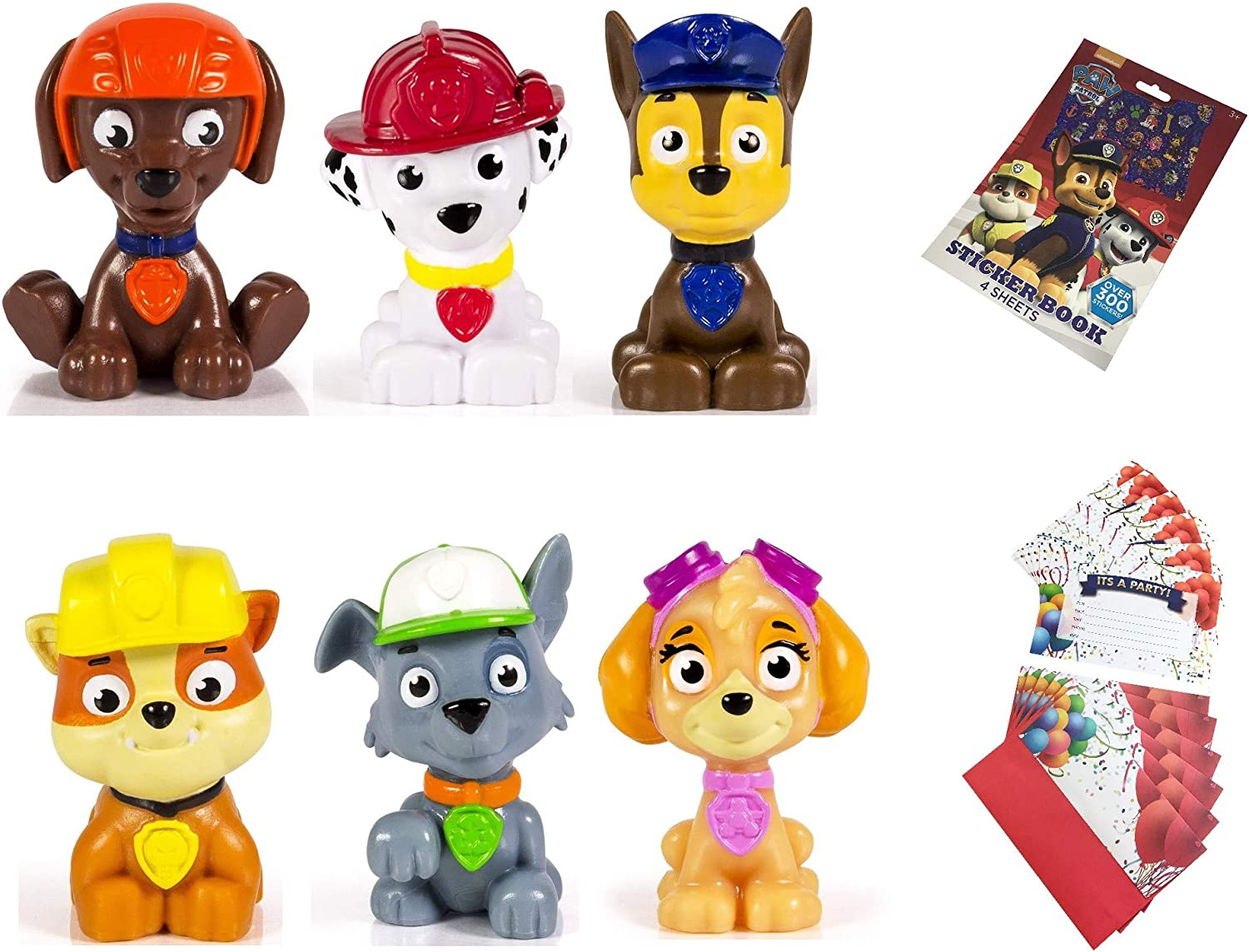 Paw Patrol Mini Figures Set of 6, Rocky, Zuma, Skye, Rubble, Marshall, Chase Paw Patrol Reward Sticker Book with 300 Stickers 6 Party Invitations Cards: Amazon.es: Juguetes y juegos
