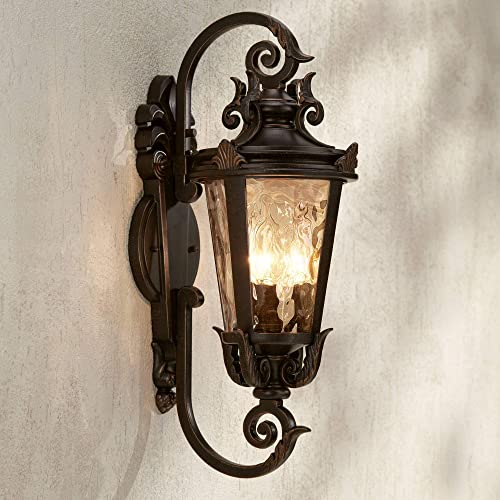 Casa Marseille Outdoor Wall Light Fixture Bronze Scroll 21 1/2″ Hammered Gla