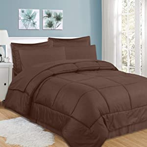 Sweet Home Collection 8 Piece Comforter Set Bag Design, Bed Sheets, 2 Pillowcases, 2 Shams Down Alternative All Season Warmth, Queen, Checkered Chocolate