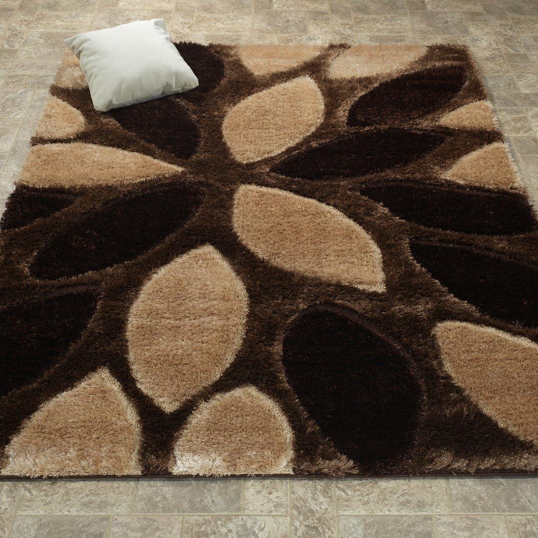 Ottomanson Beige Brown Shag Area Rug, 5 3 x 7 3 , Floral