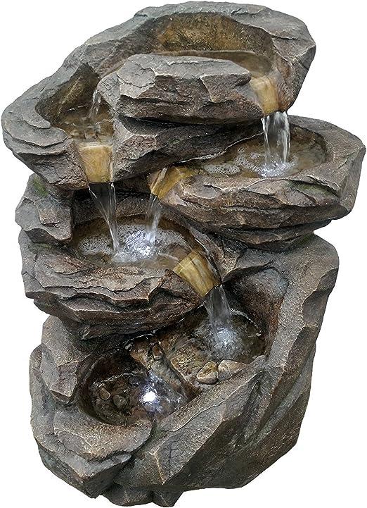 Fuente jardín fuente exterior Cascada XL con LED blanco 71 cm ...