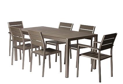 Ordinaire Pangea Home ROY 7PC SET GRAY Roy Seven Piece Dining Set, Gray
