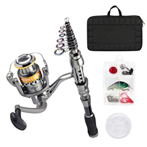 Book /& Guide Complete Namazu Mini Telescopic Travel Fishing Rod Reel Bag Tackle