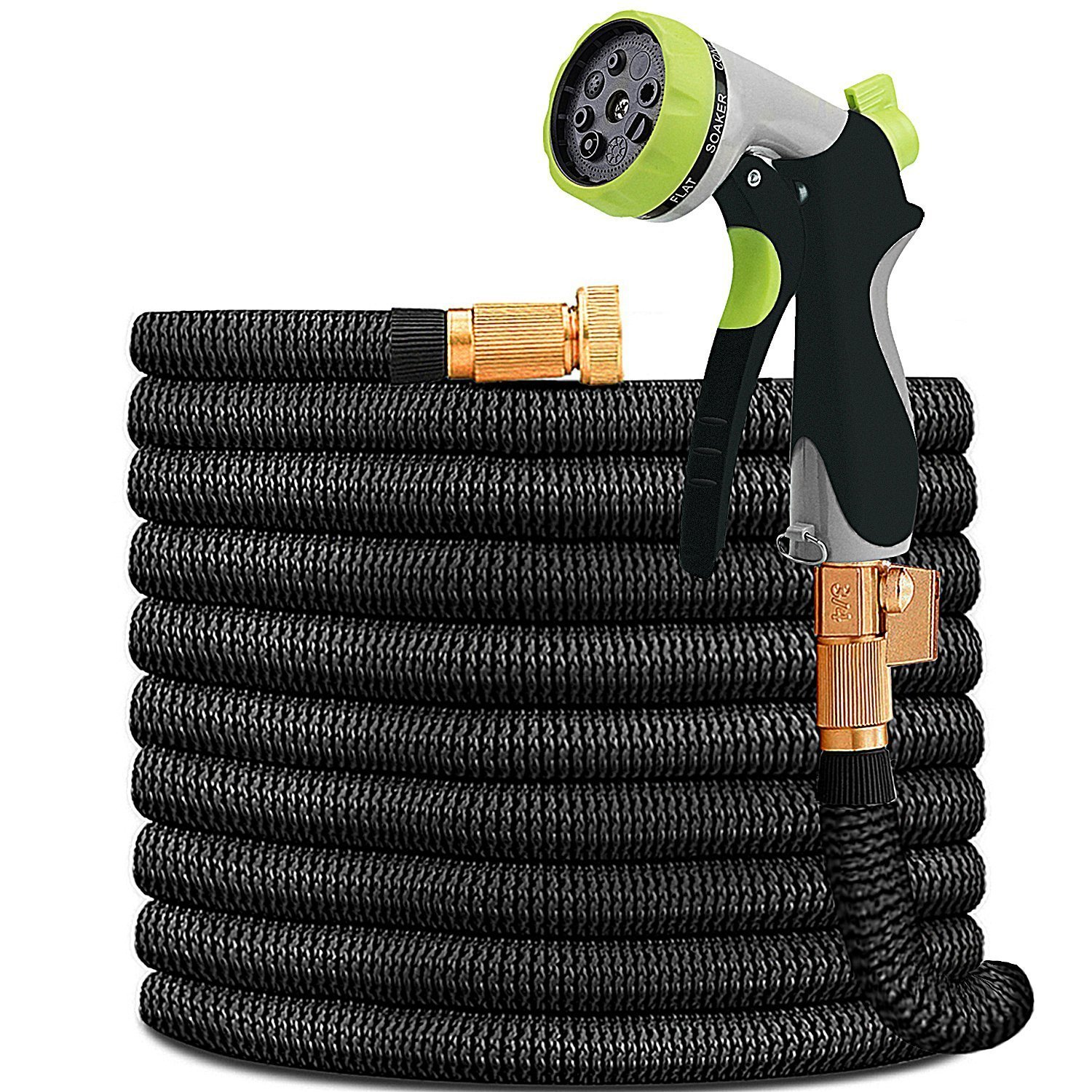 HYRIXDIRECT 50ft Garden Hose Expandable Water Hose Lightweight with Metal 8 Function Spray Nozzle Double Latex Core 3/4'' Solid Brass Fittings Extra Strength Fabric Flexible Expanding Hose