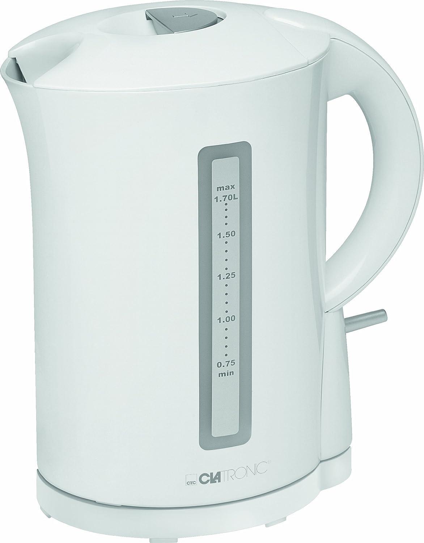 Clatronic 263641 Hervidor de Agua eléctrico, Capacidad 1,7 litros, Blanco, 2200W, 2200 W, Acero Inoxidable