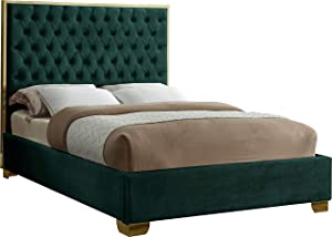 Meridian Furniture Lana Collection Modern | Contemporary Velvet Upholstered Bed with Deep Detailed Tufting and Gold Legs, Queen, Green
