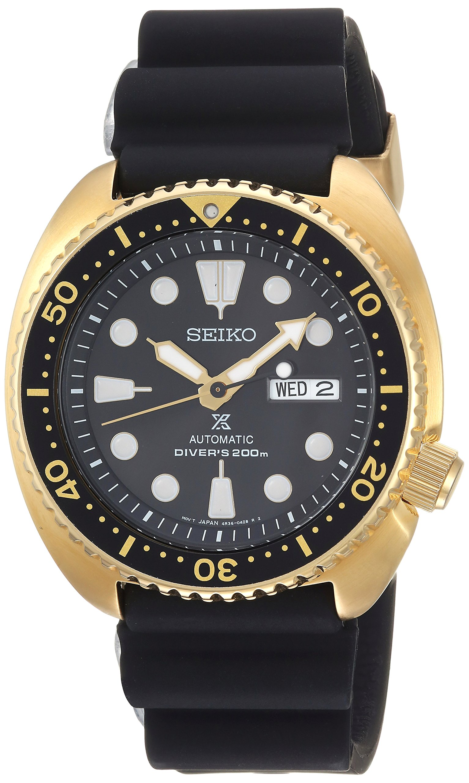 Seiko Men's Prospex Stainless Steel Automatic-self-Wind Watch with Silicone Strap, Black, 21 (Model: SRPC44) by SEIKO