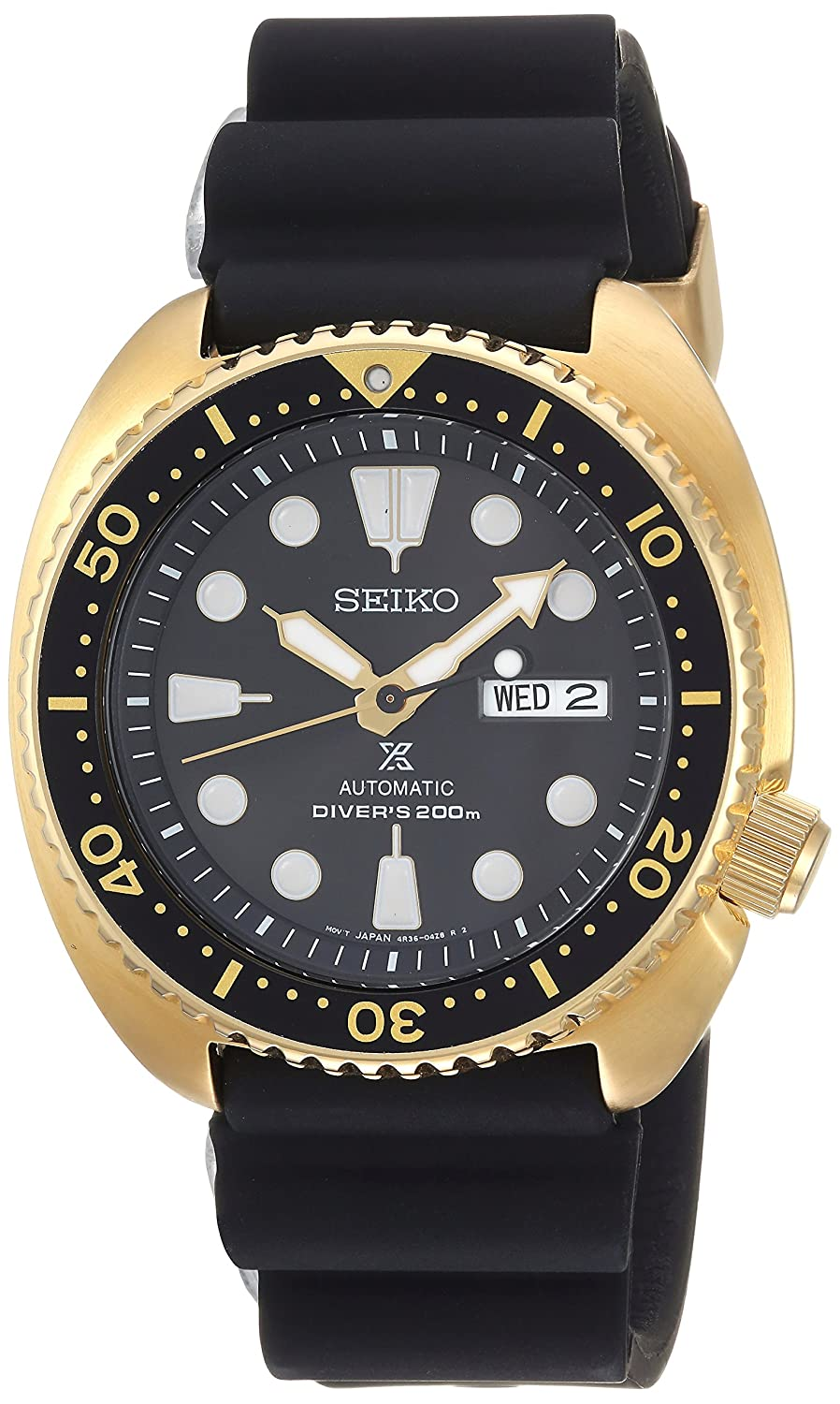 Seiko Men's Prospex Stainless Steel Automatic-self-Wind Watch with Silicone Strap, Black, 21 (Model: SRPC44