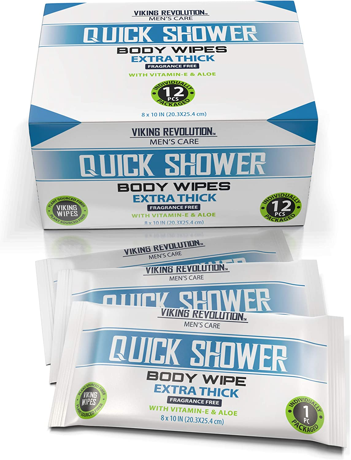 Body Wipes for Men- Gym Wipes, Shower Wipes- Disposable and Eco-Friendly- Unscented with Vitamin E and Aloe- 12 Individually Wrapped Wipes