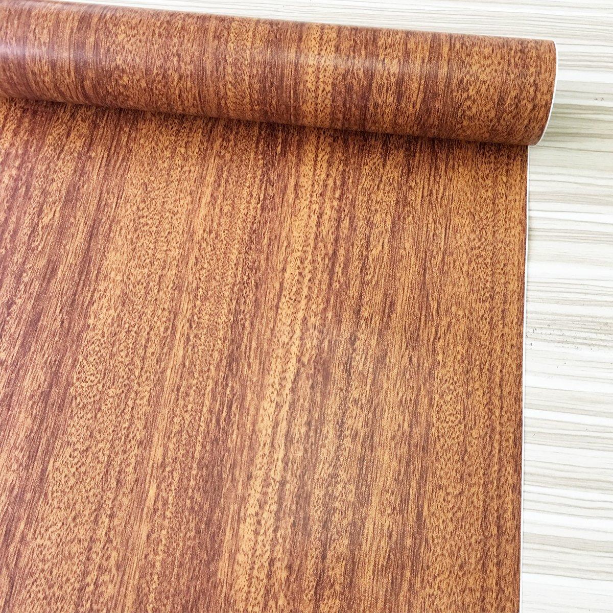 SimpleLife4U Brown Wood Textured Vinyl Contact Paper Self-Adhesive Shelf Liner Countertop Door Sticker 17.7 Inch by 9.8 Feet