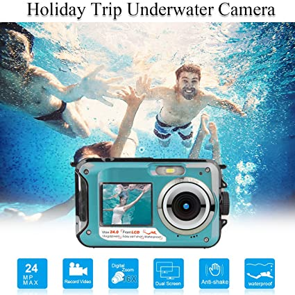 Review Waterproof Underwater Digital Camera,24MP 1080P Dual Screen Point and Shoot Digital Video Recorder Cameras-Blue