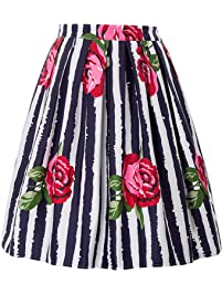 GRACE KARIN Women Pleated Vintage Skirts Floral Print (Multi-Colored)