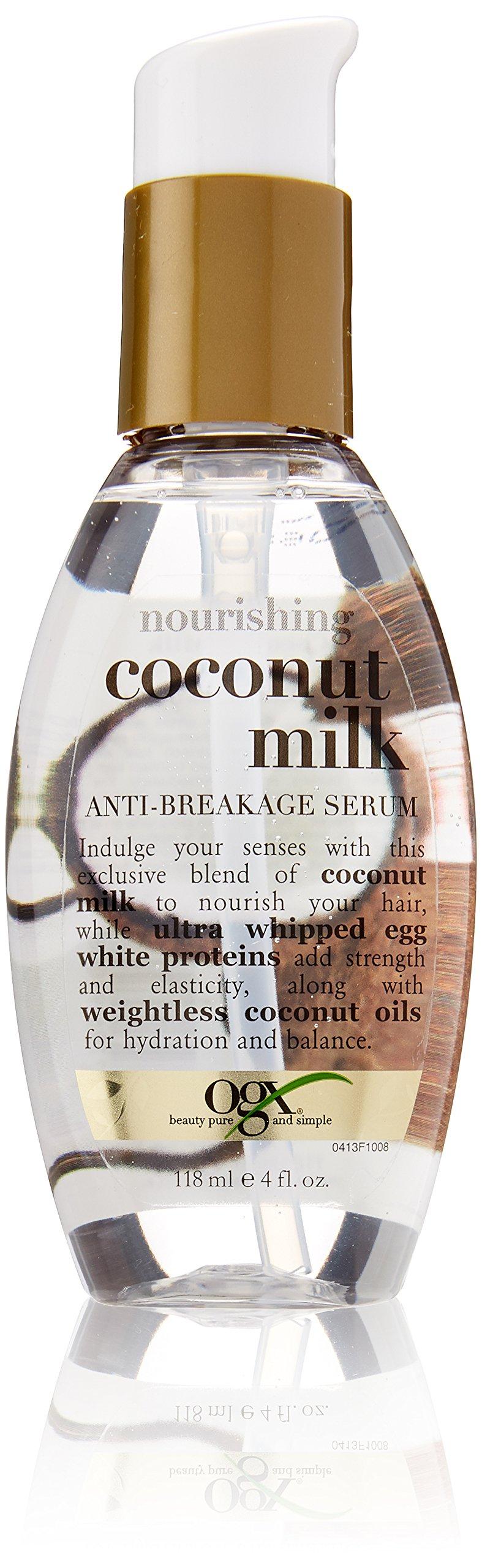 OGX Nourishing Coconut Milk Anti-Breakage Serum, 4 Ounce (Pack of 2)