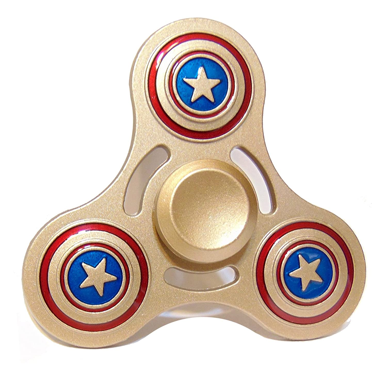 Zip Spinners- Fidget Spinner Toy with Ultra Speed Deep Groove Bearings- Best Stress Reducer Fidget Hand Spinner for Kids & Adults (Gold- Captain America) Zara Tek