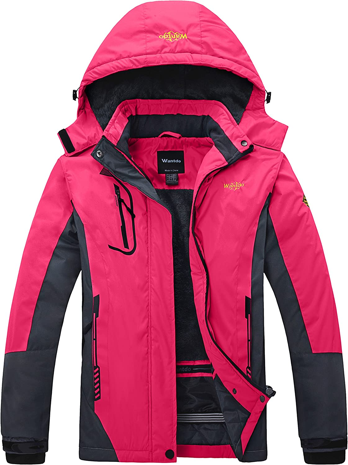 Wantdo Women's Mountain Waterproof Ski Jacket Windproof Rain Jacket Winter Warm Snow Coat