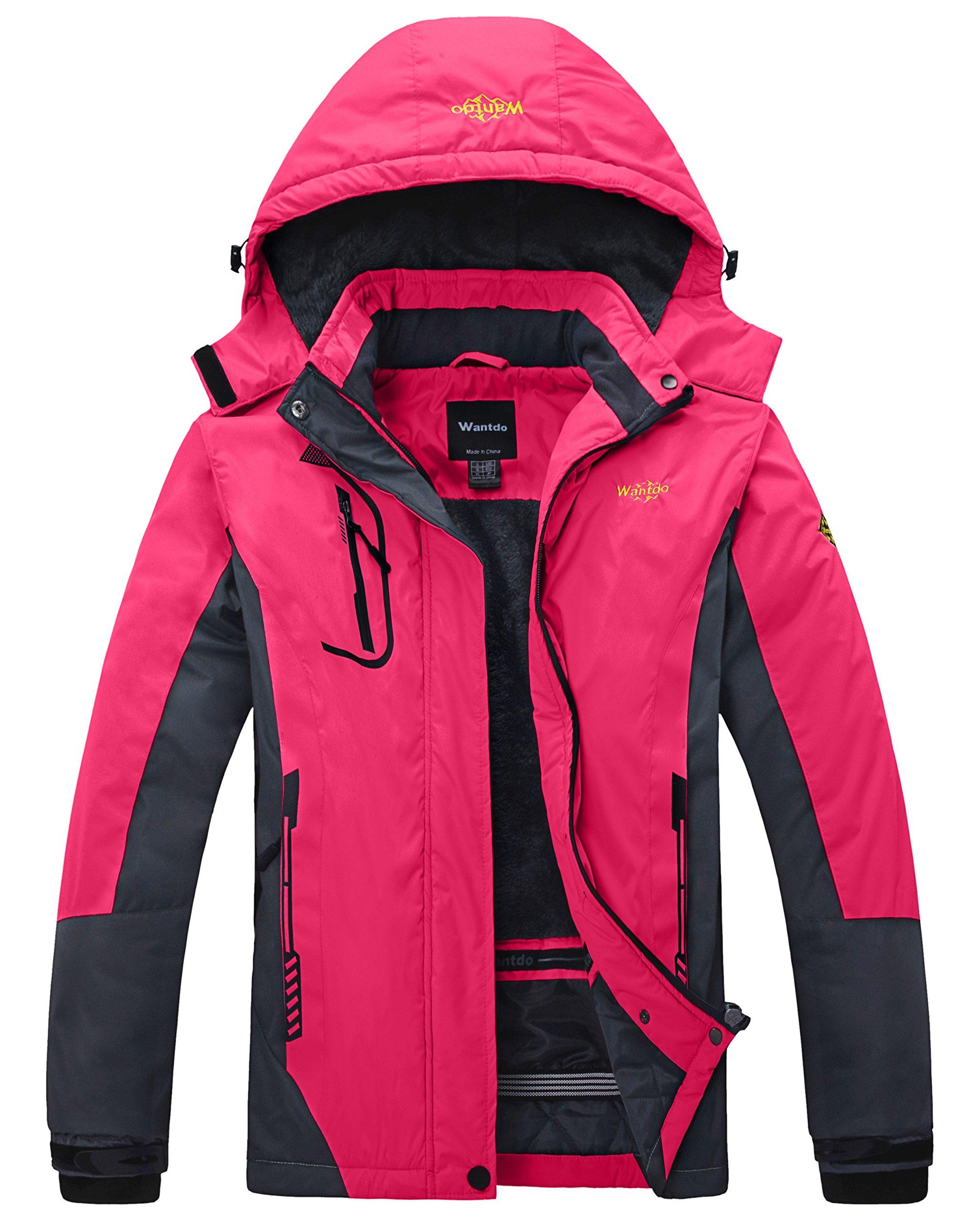 Wantdo Women's Waterproof Mountain Jacket Fleece Ski Jacket US S  Rose Red Small