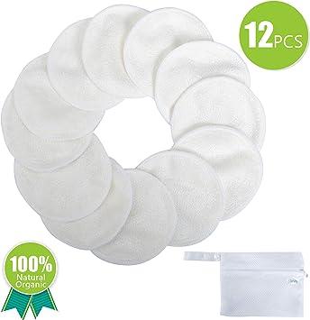 Serviettes Demaquillante - Navly Tampons en Bambou Coton Réutilisables,Coussinet Maquillage Nettoyage Lavables avec Sac à Linge(12 Pcs)