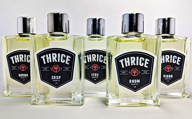 Thrice Beard Oil Sample Pack - 5 Pack (.5 oz) - 100% All Natural Leave in Beard Conditioner and Softener for Men Helps to Promote Beard Growth and Conditioning for Healthy Beards, Facial Hair and Skin