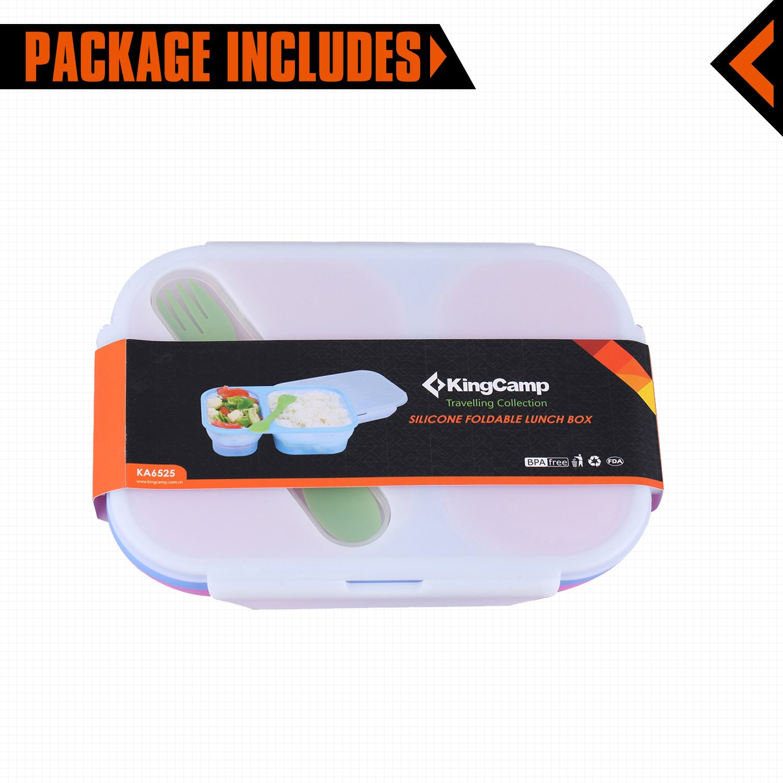 KingCamp Silicone Collapsible BPA Free Microwave Dishwasher and Freezer Safe Food Storage Camping Mess Kit