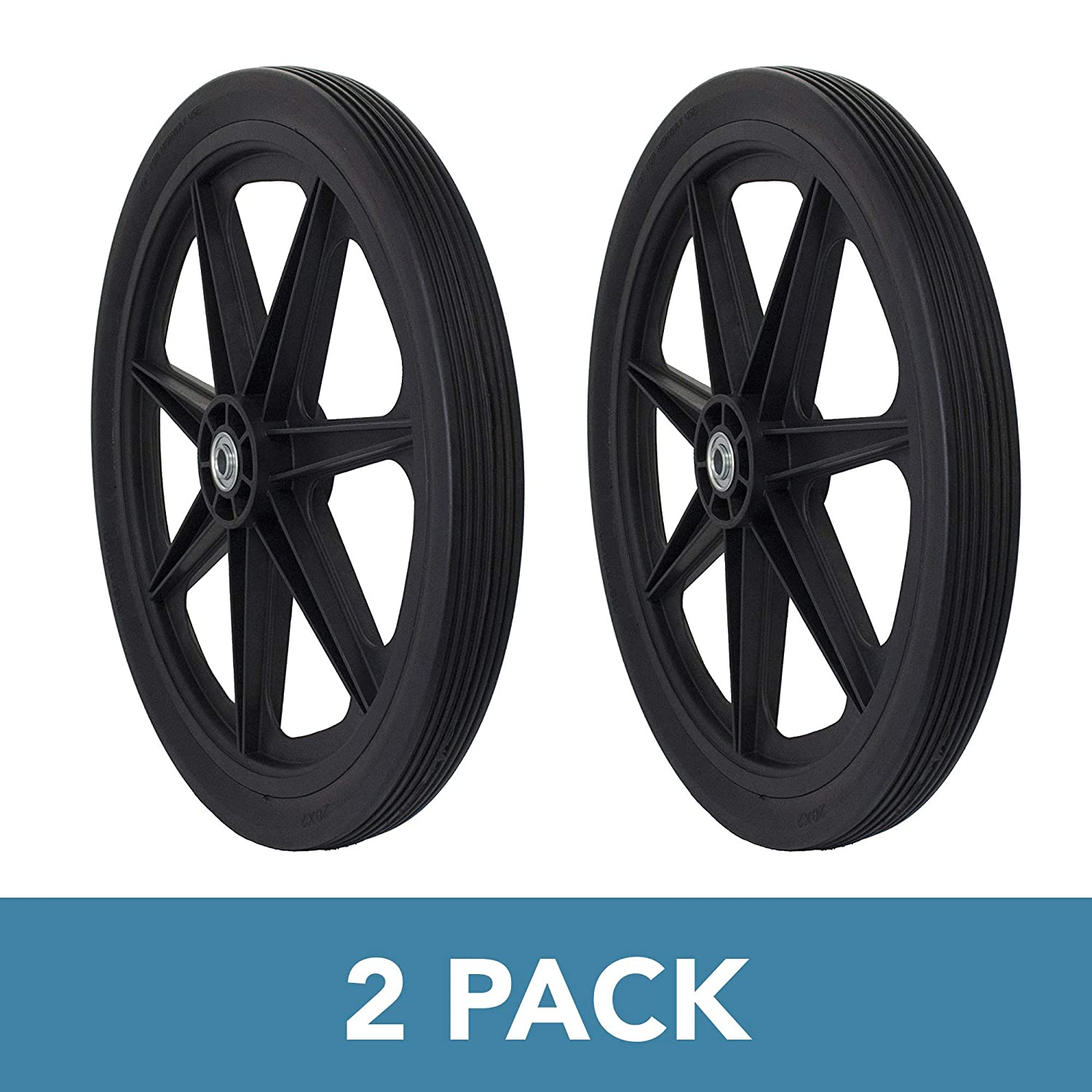 """Marathon Industries 92008 Flat Free 2 Pack Marathon 20"""" Spoked Tire Assembly Replacement for Rubbermaid, Black"""
