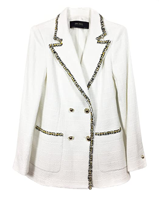 2bcc08f2ea Zara Women Double-breasted blazer with textured weave 7806/603 (X ...