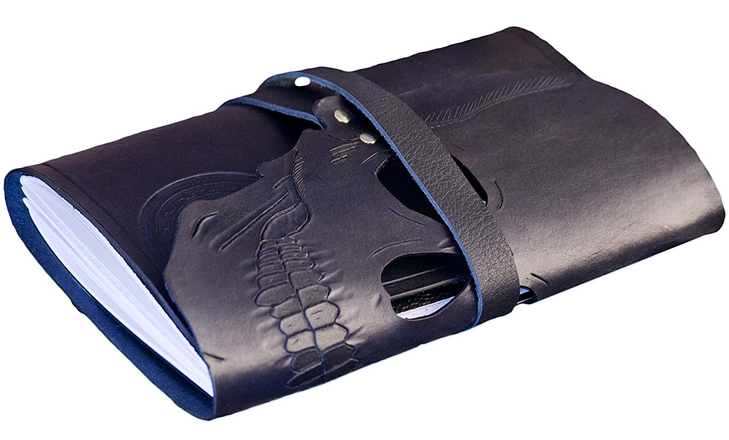 Personalized hand dyed black leather skull journal