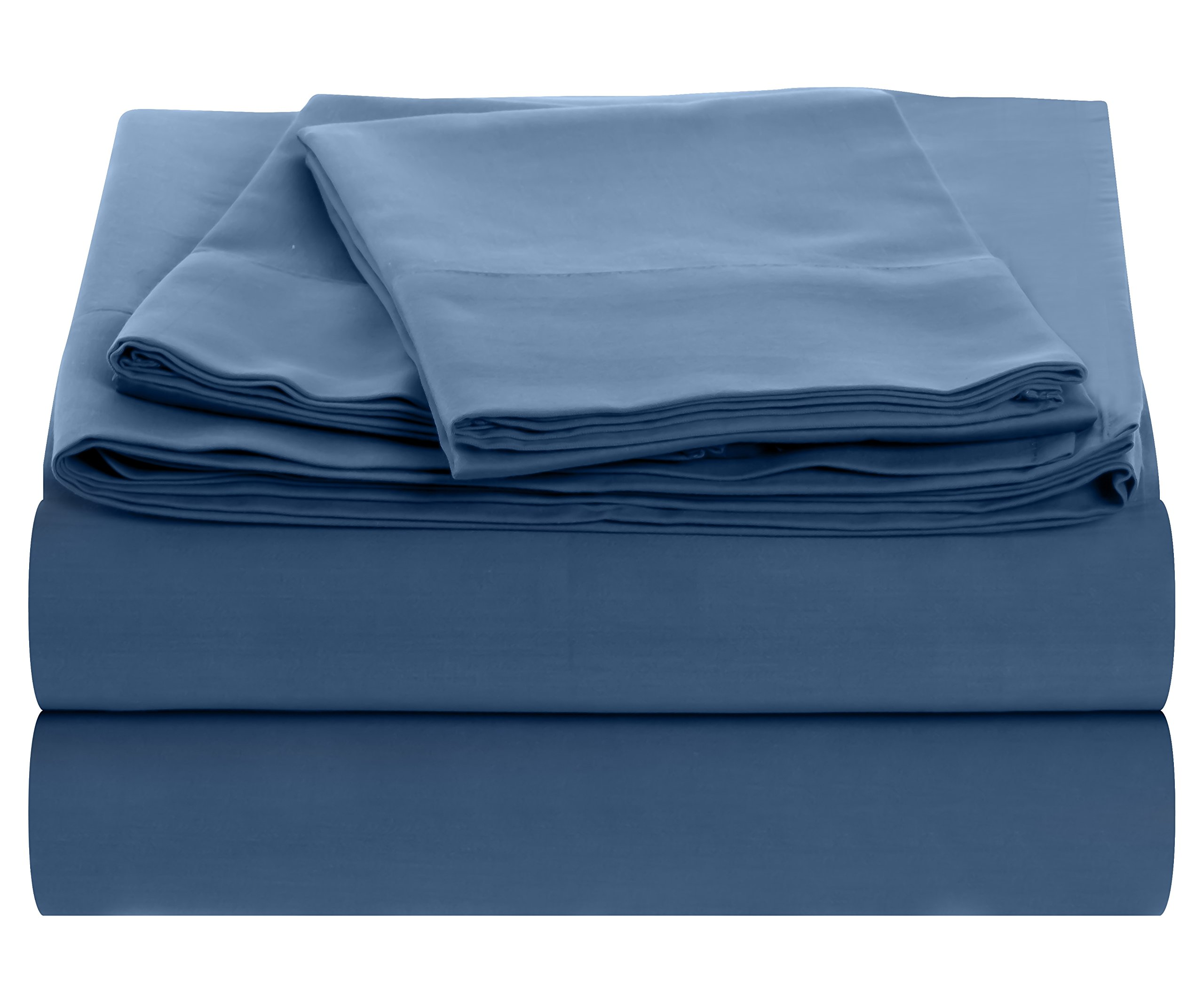 Outlast Temperature Regulating Hypoallergenic Sheet Set – 300 Thread Count, 40%, 60% Cotton Sateen Weave, Midnight Blue, Queen