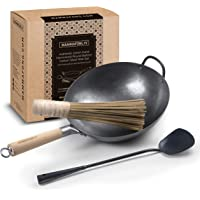 Authentic 12inch Hand Hammered Round Bottom Carbon Steel Pow Wok Set with utensils - Wok Spatula and Bamboo Brush wok…