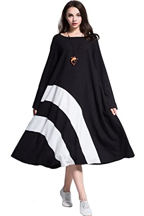0cf3b5342a4 Anysize Rainbow Linen Cotton Dress Spring Fall Plus Size Clothing Y94 at  Amazon Women s Clothing store