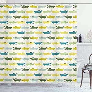 """Ambesonne Animal Shower Curtain, Crocodile Characters in Cartoon Style Funny Faces Animal Alligators Childish, Cloth Fabric Bathroom Decor Set with Hooks, 75"""" Long, Yellow Green"""